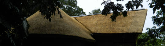 Thatch and onduline combined on a roof, south africa